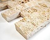 Azulejos de mosaico en red Chiaro Travertine 3D de piedra natural para pared de cocina o...