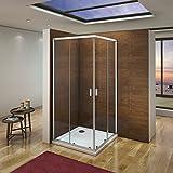 Cabina de ducha mampara de ducha corredera puerta 6mm Easyclean cristal Aica 100x80cm con...