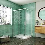 Cabina de ducha mampara de ducha corredera puerta 5mm cristal Aica 100x80cm con plato de...