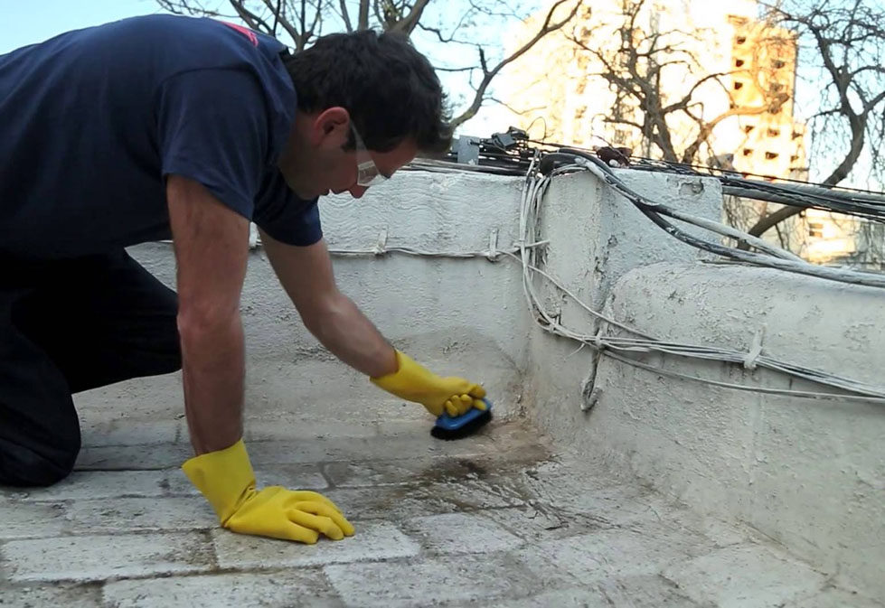 preparación y limpieza del techo